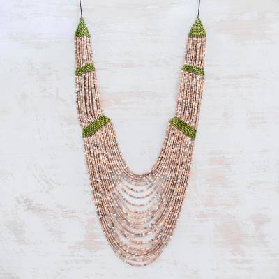 Ceramic beaded strand necklace, 'Summery Breeze in Beige' - Ceramic Beaded Strand Statement Necklace in Beige