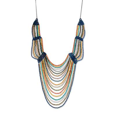 Ceramic Beaded Strand Statement Necklace in Multicolor