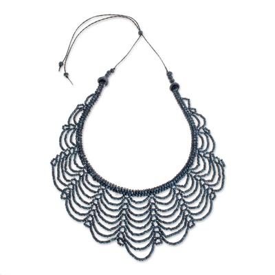Blue Ceramic Beaded Strand Necklace from Guatemala