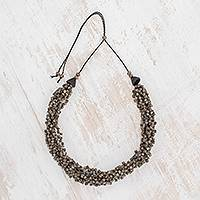 Ceramic beaded torsade necklace, 'Oceanic Breeze in Brown' - Brown Ceramic Beaded Torsade Necklace from Guatemala