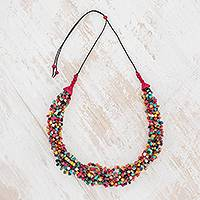 Ceramic beaded torsade necklace, 'Oceanic Breeze in Multicolor' - Multicolor Ceramic Beaded Torsade Necklace from Guatemala