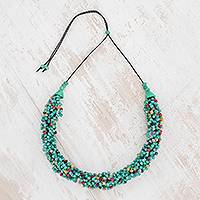 Ceramic beaded torsade necklace, 'Oceanic Breeze' - Ceramic Beaded Torsade Necklace from Guatemala