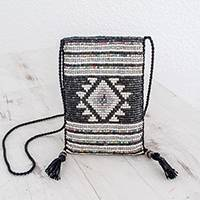 Ceramic beaded sling, 'Geometric History' - Geometric Ceramic Beaded Sling from Guatemala