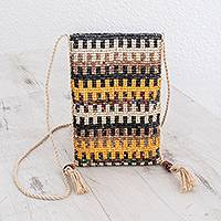 Ceramic beaded sling, 'Geometric Stripes' - Striped Ceramic Beaded Sling from Guatemala