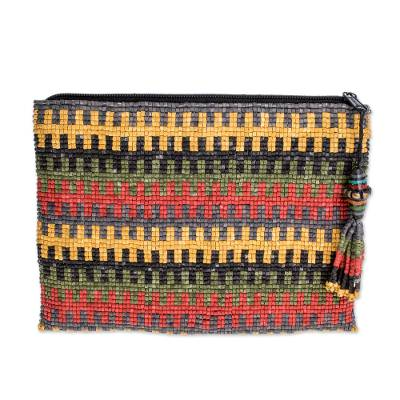 Striped Ceramic Beaded Clutch from Guatemala