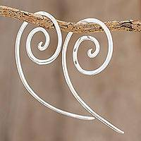 Sterling silver half-hoop earrings, 'Aura Spirals' - Spiral-Shaped Sterling Silver Half-Hoop Earrings