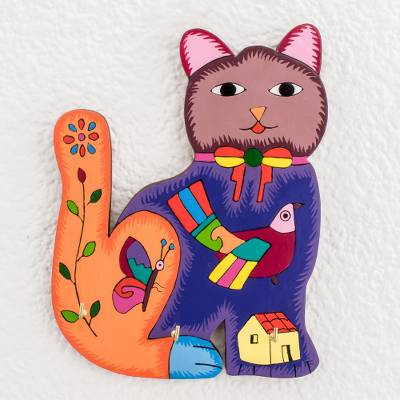 Wood key rack, 'Colorful Cat' - Hand-Painted Cat Wood Key Rack from El Salvador