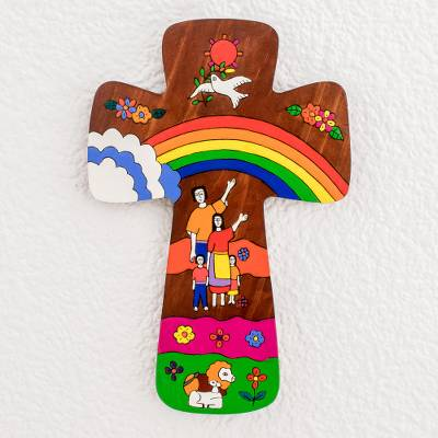 Wood wall cross, 'Family of Love' - Hand-Painted Pinewood Wall Cross from El Salvador
