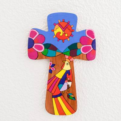 Wood wall cross, 'Light of the Sun' - Religious Pinewood Wall Cross from El Salvador