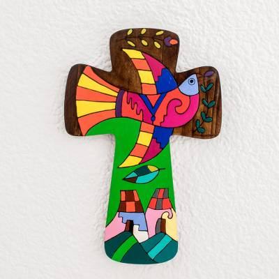 Wood wall cross, 'Bird of Peace' - Colorful Pinewood Wall Cross from El Salvador