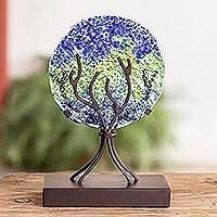 Art glass sculpture, 'Fruit of Life in Blue' - Circular Art Glass Sculpture in Blue from El Salvador