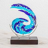 Art glass sculpture, 'Ocean Breeze' - Abstract Art Glass Sculpture in Blue from El Salvador