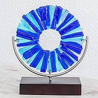 Art glass sculpture, 'Cool Inspiration' - Circular Art Glass Sculpture in Blue from El Salvador