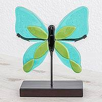 Art glass sculpture, 'Flight of Color in Green' - Art Glass Butterfly Sculpture in Green from El Salvador