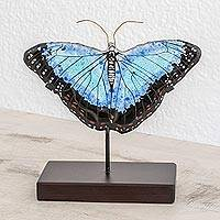 Art glass sculpture, 'Morpheus Flight' - Art Glass Morpheus Butterfly Sculpture from El Salvador