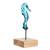Art glass sculpture, 'Blue Seahorse' - Art Glass Seahorse Sculpture from El Salvador (image 2b) thumbail