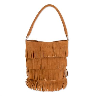 Fringed Suede Handle Handbag in Ginger from El Salvador