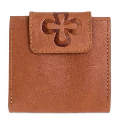 Handmade Leather Wallet in Sepia from El Salvador