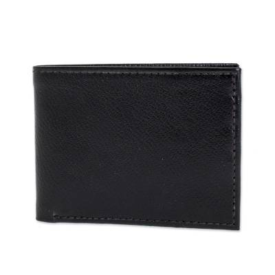 Handcrafted Black Leather Wallet from El Salvador