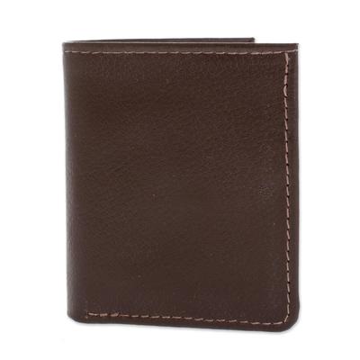 Handcrafted Leather Wallet in Espresso from El Salvador