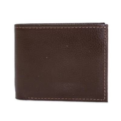 Handmade Leather Wallet in Chestnut from El Salvador