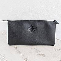 Leather document case, 'Cross Elegance' - Handmade Black Leather Document Case from El Salvador