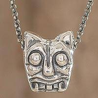 Sterling silver pendant necklace, 'Iximche Jaguar' - Sterling Silver Pendant Necklace Crafted in Guatemala