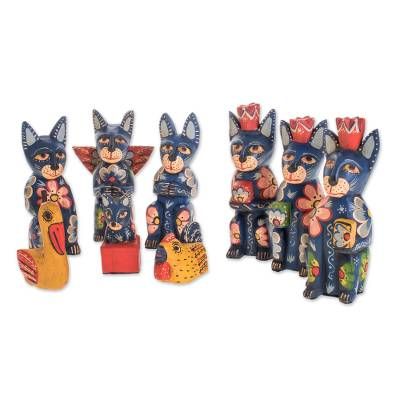 Cat-Themed Wood Nativity Scene from Guatemala (9 Pieces)