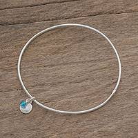 Fine silver bangle bracelet, 'Hammered Ring in Light Blue' (Guatemala)