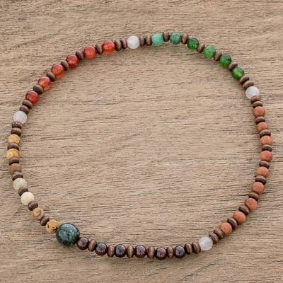 Multi-gemstone beaded stretch anklet, 'Fire of the Earth' - Multi-Gemstone and Wood Beaded Stretch Anklet from Guatemala