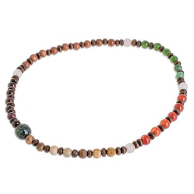 Multi-Gemstone and Wood Beaded Stretch Anklet from Guatemala