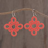 Hand-tatted dangle earrings, 'Petal Essence in Strawberry' - Hand-Tatted Dangle Earrings in Strawberry from Guatemala