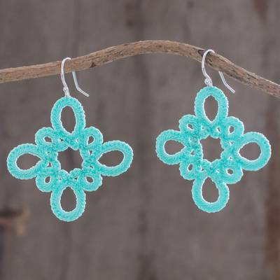 Hand-tatted dangle earrings, 'Petal Essence in Seafoam' - Hand-Tatted Dangle Earrings in Seafoam from Guatemala