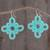 Hand-tatted dangle earrings, 'Petal Essence in Seafoam' - Hand-Tatted Dangle Earrings in Seafoam from Guatemala thumbail