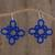 Hand-tatted dangle earrings, 'Petal Essence in Lapis' - Hand-Tatted Dangle Earrings in Lapis from Guatemala thumbail