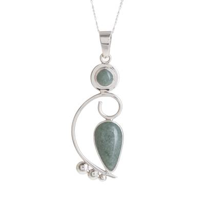 Apple Green Jade Pendant Necklace Crafted in Guatemala