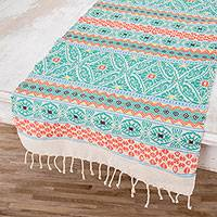 Cotton table runner, 'Guatemala is Family' - Handwoven Cotton Table Runner in Turquoise from Guatemala
