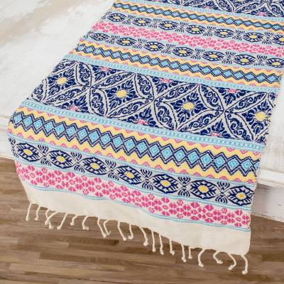 Cotton table runner, 'Guatemala is Life' - Handwoven Cotton Table Runner in Blue from Guatemala