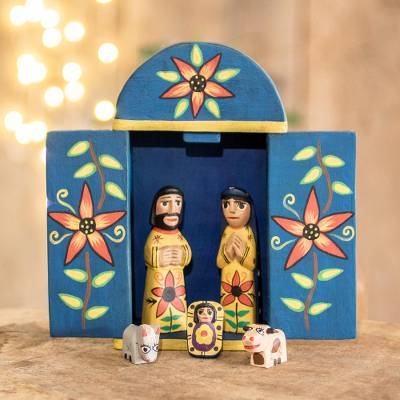 Wood nativity scene, 'Retablo Nativity' (7 piece) - Wood Retablo Nativity Scene from Guatemala (7 Piece)