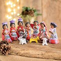 Ceramic nativity scene, 'Santiago Nativity' (12 piece) - Hand-Painted Cultural Ceramic Nativity Scene from Guatemala