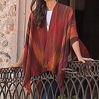 Rayon chenille ruana, 'Fiery Ethereal Inspiration' - Artisan Crafted Rayon Chenille Ruana from Guatemala