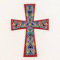 Wood wall cross, 'Traditional Colors in Red' - Hand-Painted Wood Wall Cross with Red Accents
