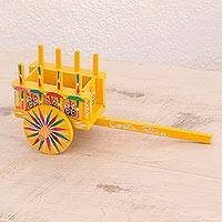 Wood decorative accent, 'Country Traditions in Yellow' - Wood Cart Decorative Accent in Yellow from Costa Rica