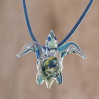 Art glass pendant necklace, 'In the Lake' - Handblown Art Glass Turtle Pendant Necklace from Costa Rica
