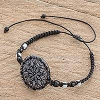 Glass beaded macrame pendant bracelet, 'Elegant Intricacy' - Black and White Glass Beaded Macrame Pendant Bracelet
