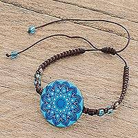 Glass beaded macrame pendant bracelet, 'Blue Rivers' - Glass Beaded Macrame Pendant Bracelet in Blue