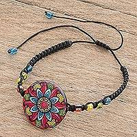Glass beaded macrame pendant bracelet, 'Multicolored Splendor' - Multicolored Glass Beaded Macrame Bracelet from Costa Rica