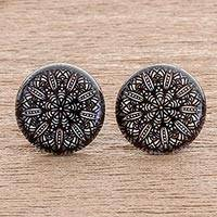 Resin and paper stud earrings, 'Elegant Intricacy' - Black and White Resin and Paper Stud Earrings