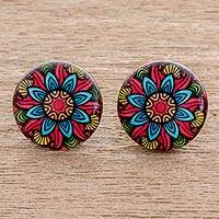 Resin and paper stud earrings, 'Multicolored Splendor' - Multicolored Resin and Paper Stud Earrings from Costa Rica