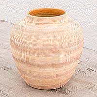 Ceramic vase, 'Rustic Beauty' - Rustic Ceramic Vase Handcrafted in Guatemala